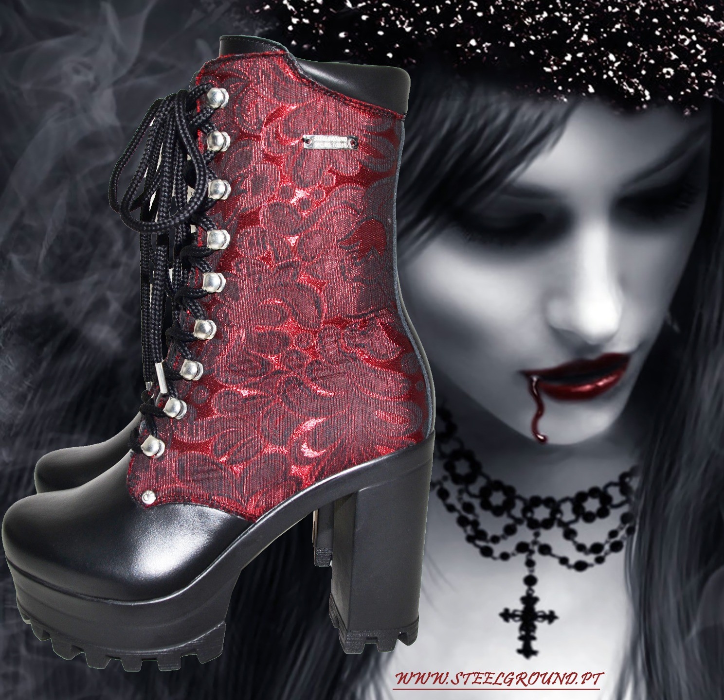 red brocado boot