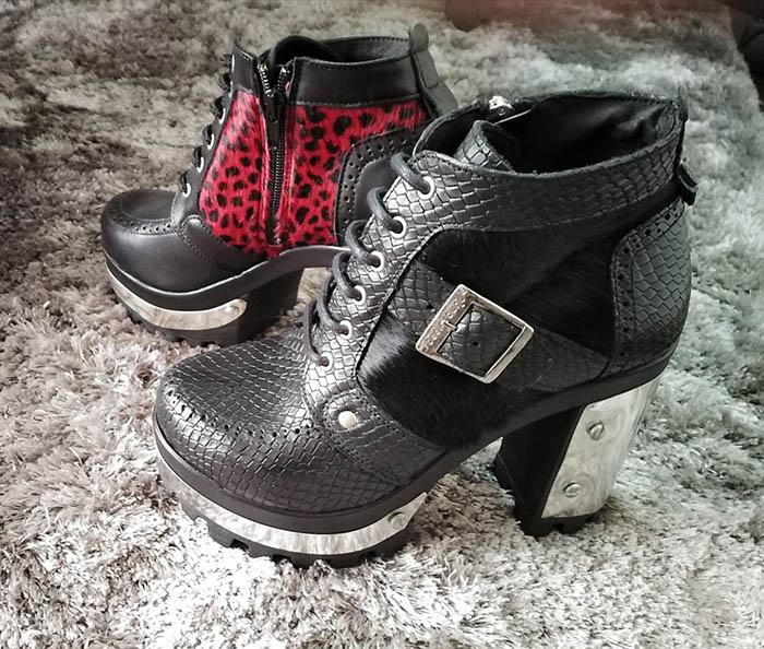 Ana's brogue metal heel shoe